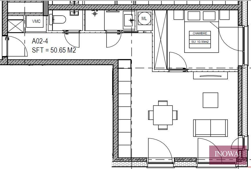 Appartement 1 chambre - projet CANAL 44
